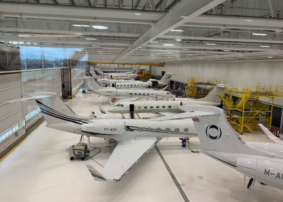 Planes inside the Gulfstream building
